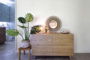 a cabinet storage with ornamental plant on side