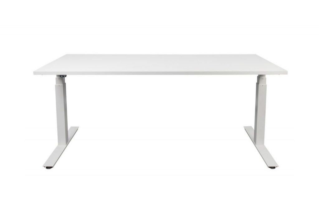 white sit and stand desk