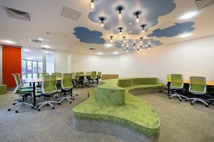 modern designed green themed workplace